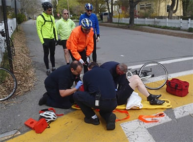 Paramedics responding to an injured bicyclist