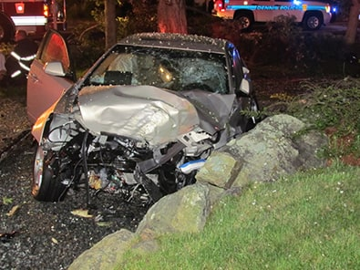 Cadillac destroyed in a car crash