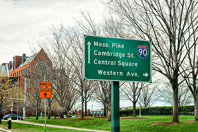 Traffic sign in Cambridge, Mass. for Mass Pike, Cambridge Street, Central Square and Western Avenue