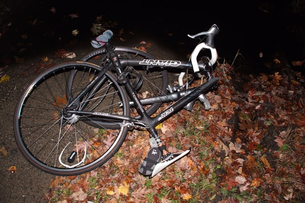 Damaged bicycle after a crash