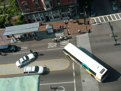 MBTA bus after a bus accident