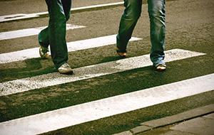 Pedestrians in a crosswalk in Quincy, Massachusetts
