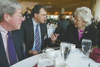 Personal injury lawyer David White with former SJC Chief Justice Margaret Marshall and Superior Court Justice Alan van Gestel